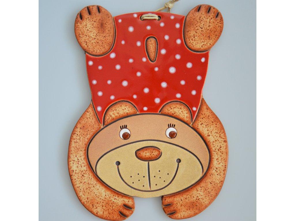 Keramický medvídek  - červený