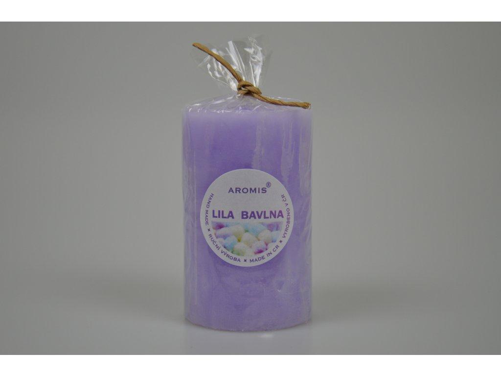 Svíčka Aromis válec fialová - Lila bavlna