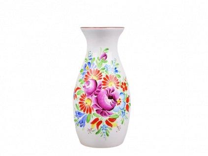 Chodská keramická váza - Střední bílá