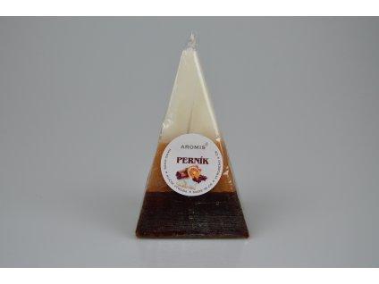 Svíčka Aromis jehlan hnědá - Perník