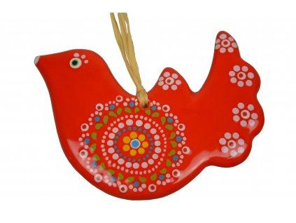 Keramická holubička - Velká červená s krajkou