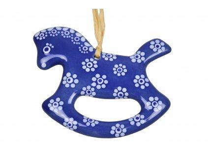 Keramický koník - Modrý s květy