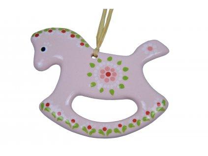 Keramický koník - Růžový