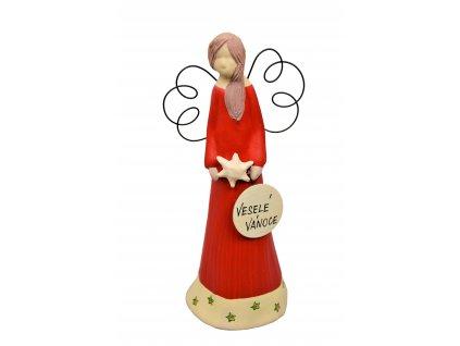 Keramický anděl malý vánoční - červený