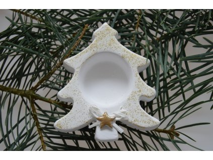 Vánoční svícen stromeček - bílo-zlatý
