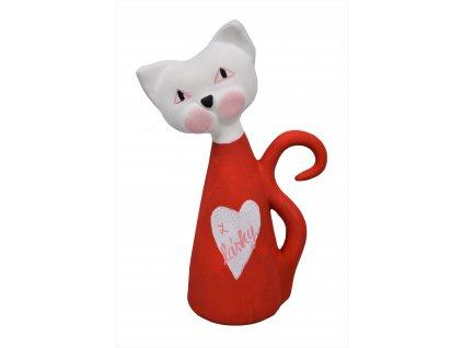 Keramická kočka - Červená