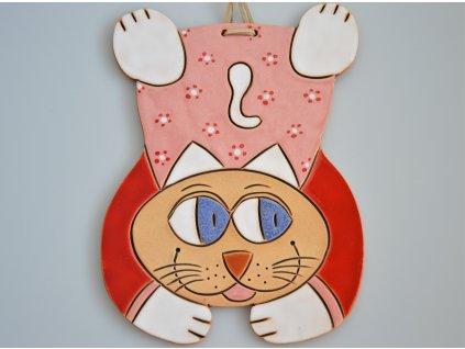 Keramická kočka - červeno-růžová