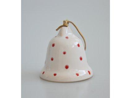 Keramický zvonek - bílý s červenými puntíky