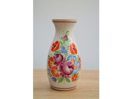 Chodská keramická váza - bílá