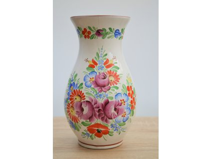 Chodská keramická váza - bílá velká