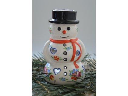 Chodský keramický sněhulák - aromalampa