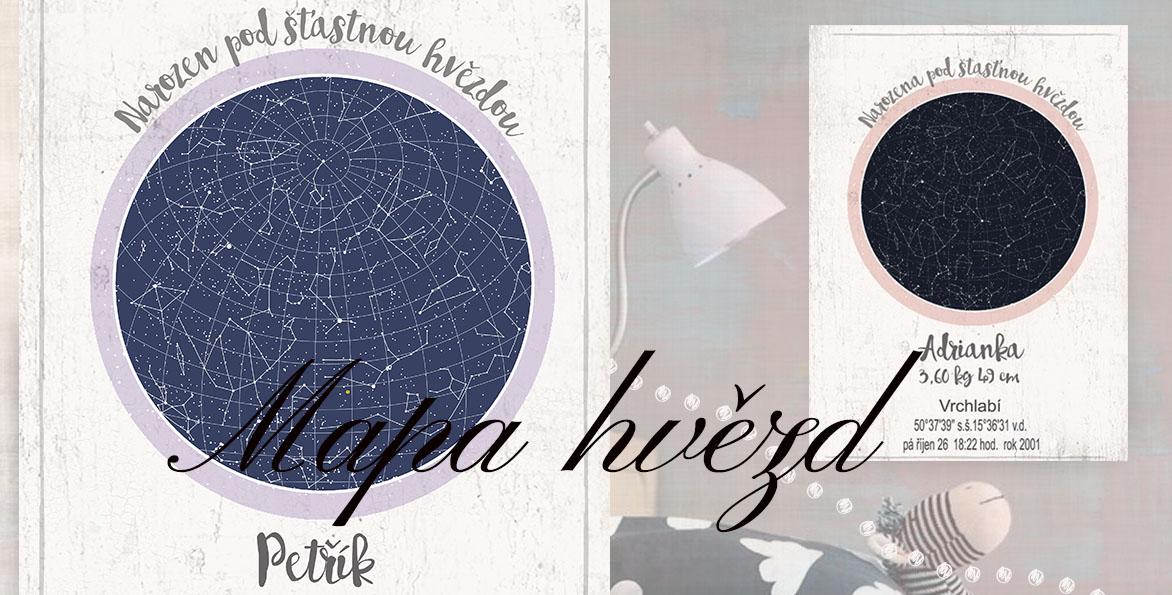 mapa hvězd, hvězdné oblohy, pro miminko, svatba