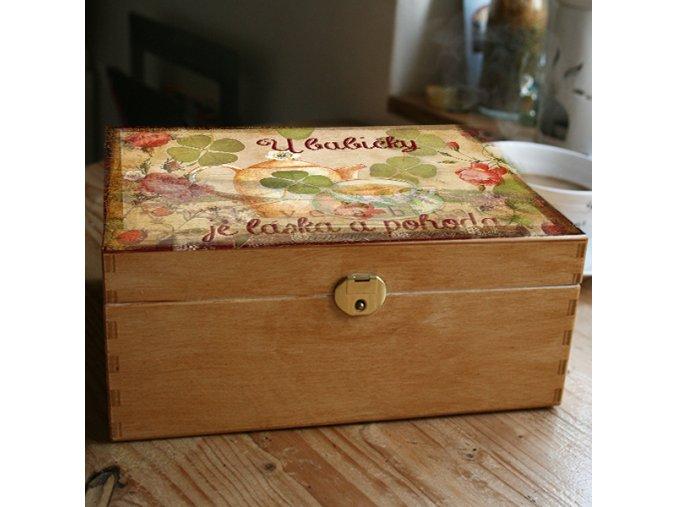 dřevěná kazeta na čaj