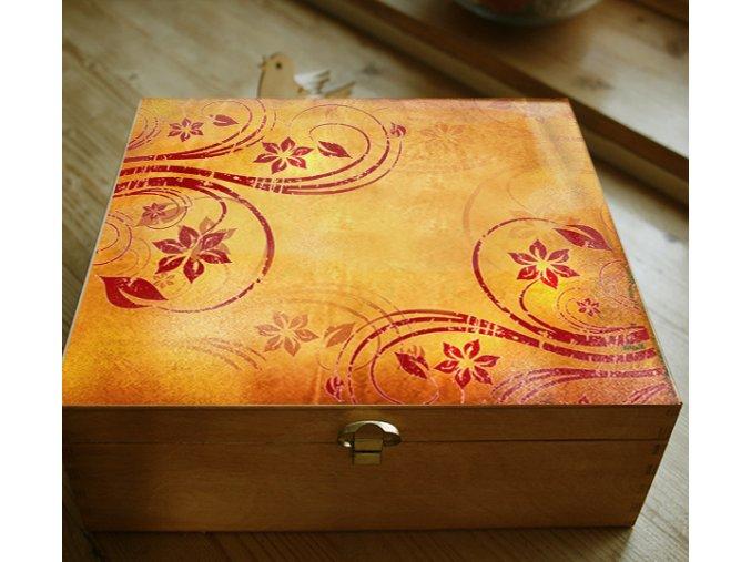 Dřevěná šperkovnice, oranžové květy