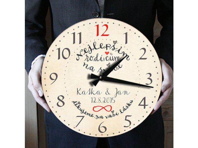 poděkování rodičům ke svatbě, hodiny