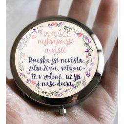zrcátko s nápisem ke svatbě