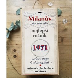 Originální dárek k narozeninám, krabice na víno ročník 1971