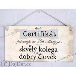 certifikát, dárek pro kolegu, kolegyni