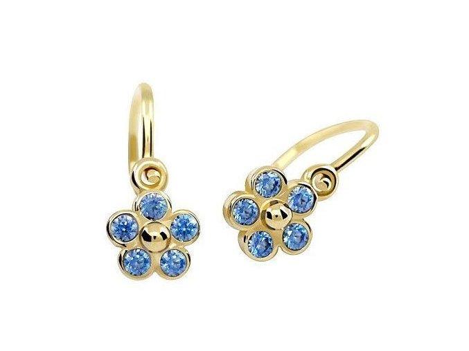 Dětské zlaté náušnice - pomněnky s modrými zirkony