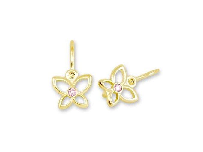 Dětské náušnice - zlatí motýlci s růžovými zirkony