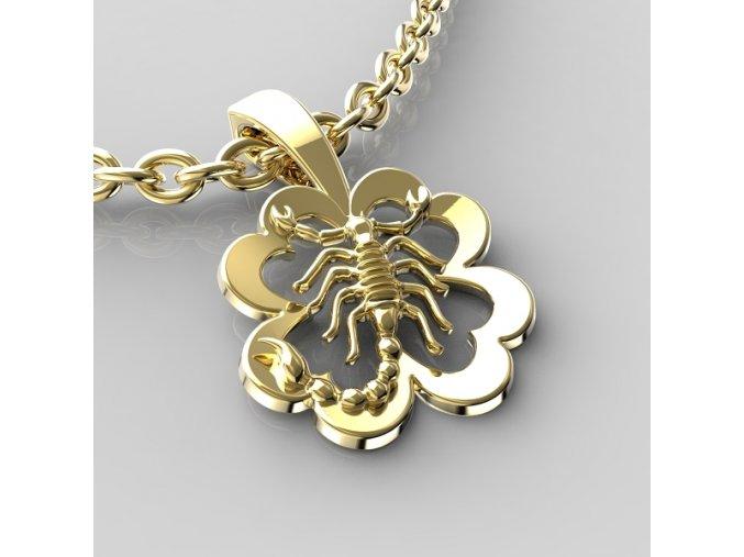 Zlatý přívěsek znamení Štír - kytička