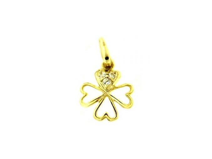 Zlatý přívěsek - čtyřlístek se zirkony