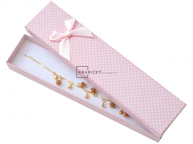 Dárková krabička světle růžová s puntíky