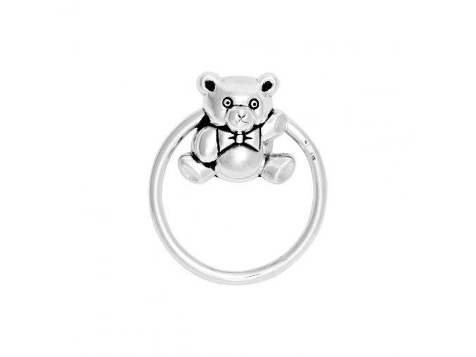 chrastítko medvídek stříbrný kroužek 1000