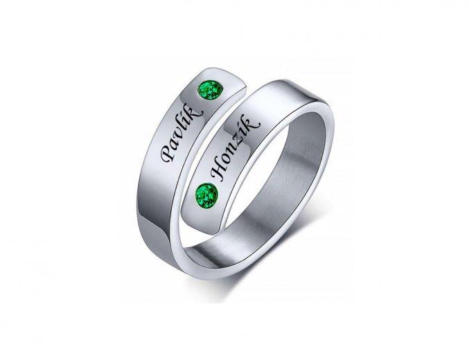 Ocelový prstýnek s kamínky (zelená)