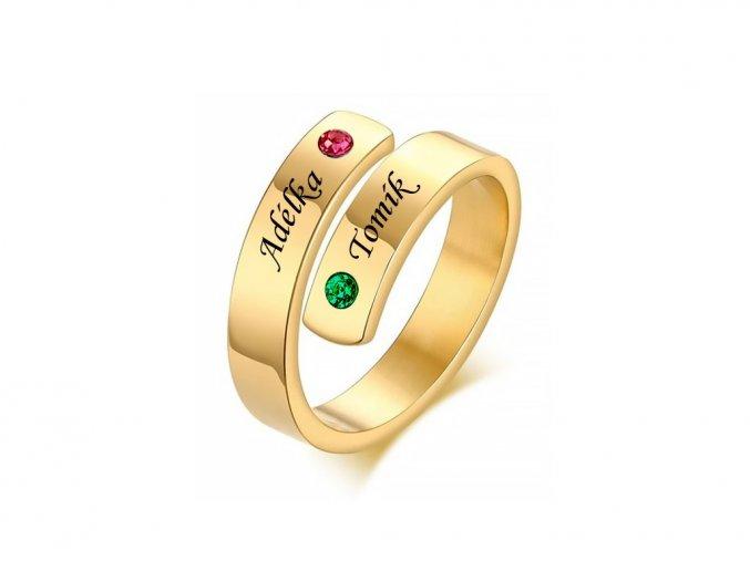 Pozlacený ocelový prstýnek s kamínky (červená, zelená)