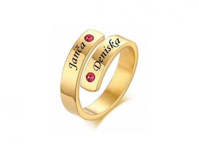 Pozlacený ocelový prstýnek s kamínky (červená)