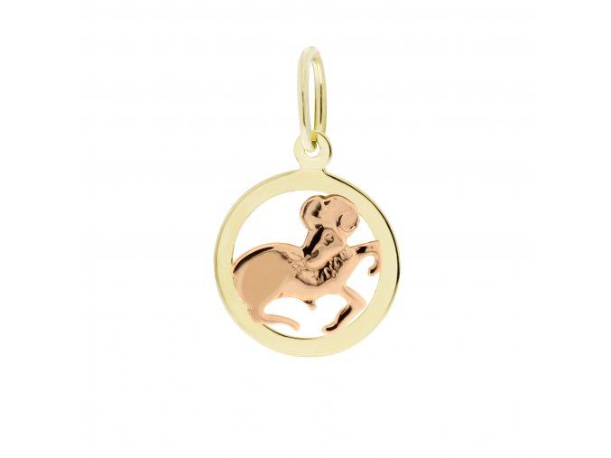 Zlatý přívěsek, různé tvary - znamení Beran 12 mm (Tvar Kolečko, hladký rámeček)
