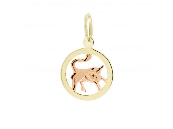 Zlatý přívěsek, různé tvary - znamení Býk 12 mm (Tvar Kolečko, hladký rámeček)
