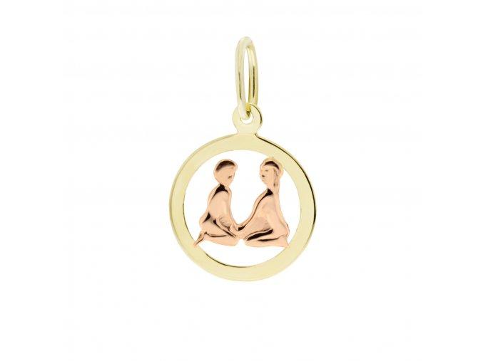 Zlatý přívěsek, různé tvary - znamení Blíženci 12 mm (Tvar Kolečko, hladký rámeček)