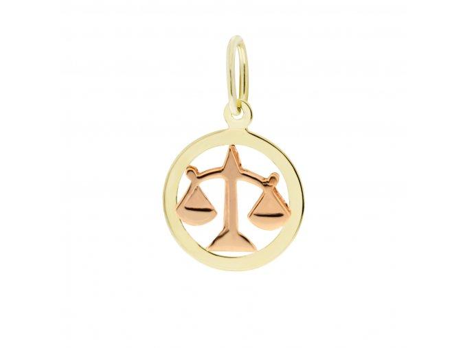 Zlatý přívěsek, různé tvary - znamení Váhy 12 mm (Tvar Kolečko, hladký rámeček)