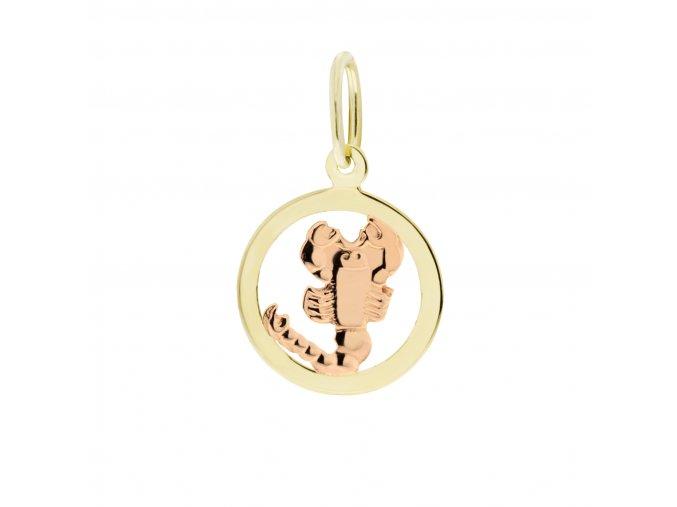 Zlatý přívěsek, různé tvary - znamení Štír 12 mm (Tvar Kolečko, hladký rámeček)
