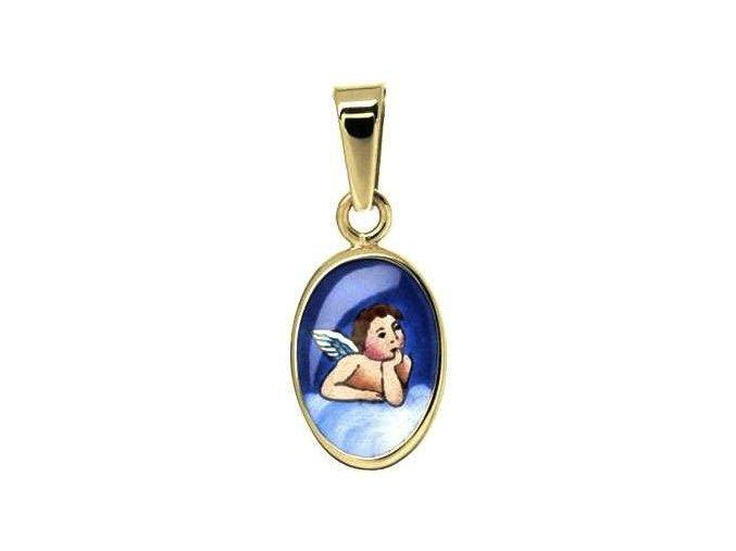Dětský přívěsek - ochranný andílek modrý, žluté nebo bílé zlato
