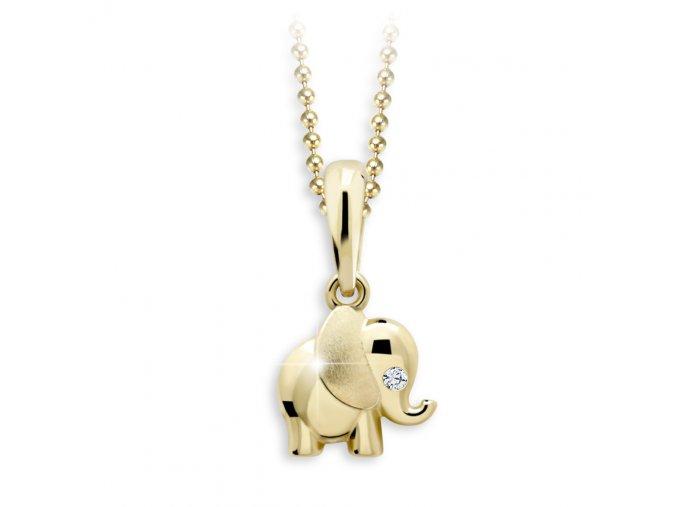 Zlatý přívěsek se zirkonem - slon