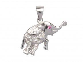 Stříbrný přívěsek se zirkony - slon
