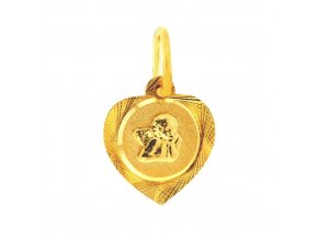 Zlatý přívěsek - srdíčko s andílkem