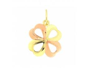 Zlatý přívěsek - čtyřlístek, žluté a růžové zlato