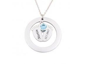 privesek detske nozicky deluxe circle swarovski krystal modry1x