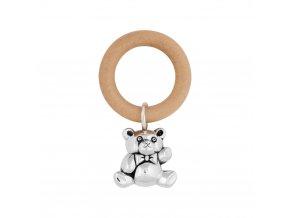chrastítko medvídek dřevěný kroužek 1000