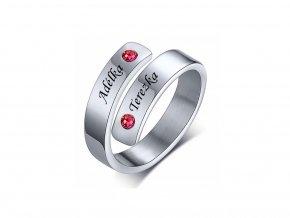 Ocelový prstýnek s kamínky (červená)