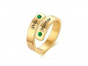 Pozlacený ocelový prstýnek s kamínky (zelená)