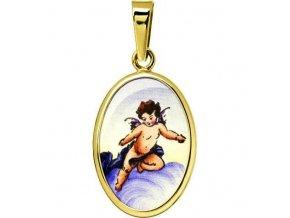 Dětský přívěsek - ochranný andílek větší, žluté nebo bílé zlato