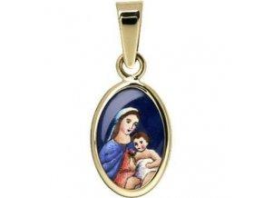 Zlatý dětský přívěsek - madonka s dítětem modrá
