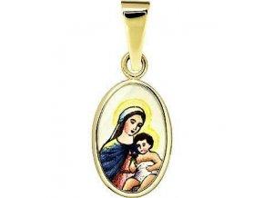 Dětský přívěsek - madonka s dítětem světlá, žluté nebo bílé zlato