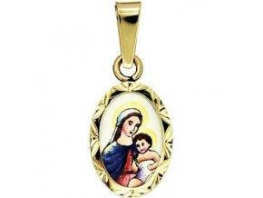 Zlatý dětský přívěsek - madonka s dítětem světlá v rytém rámečku