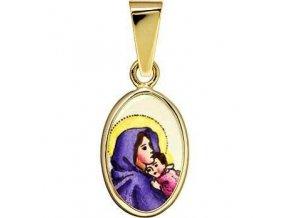 Dětský přívěsek - madonka s dítětem, žluté neb bílé zlato